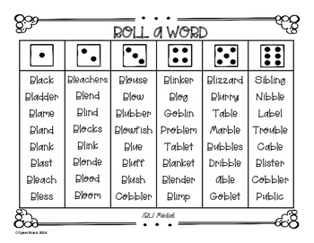 Roll-a-Word /R, L, S/ Blends Edition