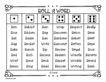 Roll-a-Word /R/, Vocalic /R/, & /L/ Edition