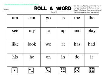 Roll a Word Sight Word Game