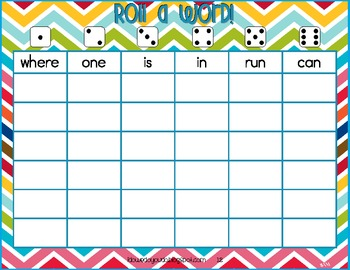 Roll a Word Sight Word Graphing