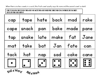 Roll a Word Spelling Centers: Long A