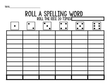 Roll a Word, Word Work