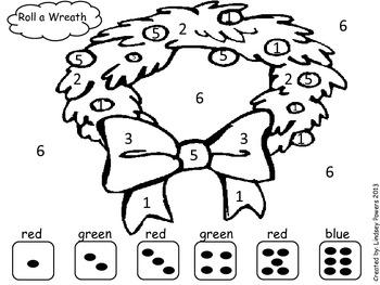 Roll a Wreath - Christmas Math Fun for Kindergarten