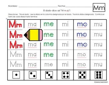 """Roll a dice """"El dado dice asi..."""" Spanish Silabas Activities for Kinder Tesoros"""