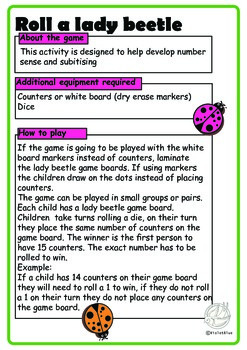 Maths Centre Game:Roll a lady beetle- Addition to 15 (Kindergarten/1st Grade)