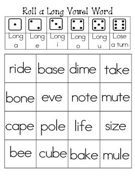 Roll a long and short vowel word