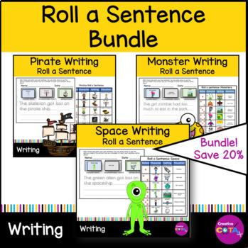 Roll and write a sentence or story Set 2    space, pirates and monsters Bundle