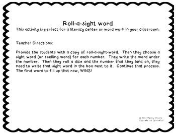 Roll-a-sight-word Literacy Center Work