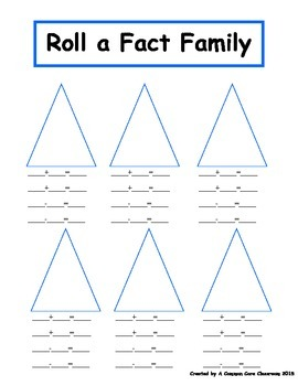 Roll an Addition and Subtraction Fact Family
