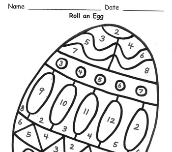 Roll an Egg Addition Practice to 12