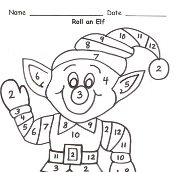 Roll an Elf Addition Practice to 12
