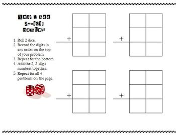 Roll and Add 2 Digit Numbers Basic Game