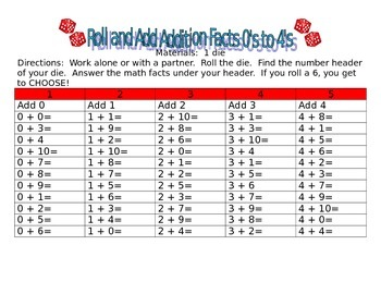 Roll and Add Addition Facts