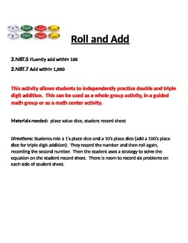Roll and Add Math Practice