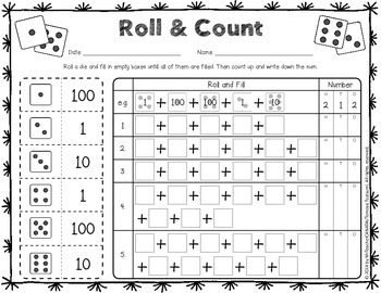 roll and count place value worksheets activity with dice number cube. Black Bedroom Furniture Sets. Home Design Ideas