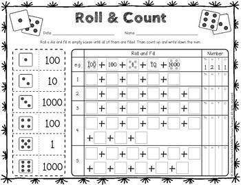 Roll and Count - Place Value Worksheets (Activity with Dice/Number Cube)