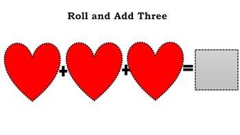 Valentine's Roll and Add Three