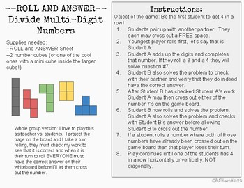 Divide Multi-Digit Numbers Roll and Answer Game- 6.NS.B.2