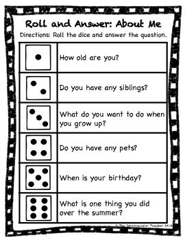 Back to School Roll and Answer: Getting to Know You