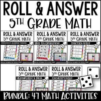 5th Grade Math Centers   5th Grade Math Games {Roll and Answer Math}