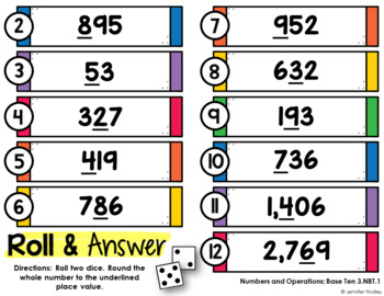 3rd Grade Math Centers | Roll and Answer Math Centers for 3rd Grade