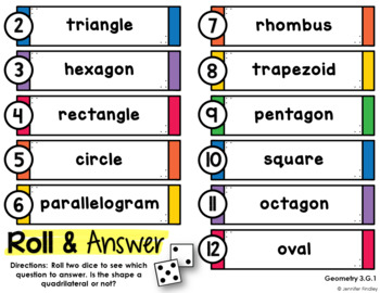 Roll and Answer Math Centers for 3rd Grade Common Core *Geometry*