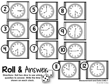 Roll and Answer Math Centers for 3rd Grade Common Core *Measurement & Data*