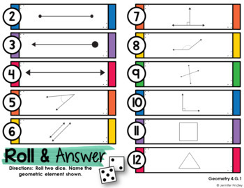 Roll and Answer Math Centers for 4th Grade Common Core *Geometry*