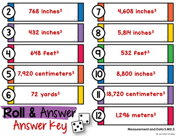 Roll and Answer Math Centers for Common Core *Measurement and Data*