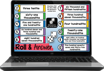 5th Grade Math Centers (Roll and Answer: Numbers & Operations: Base Ten)