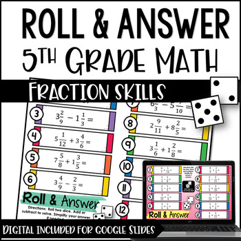 5th Grade Math Centers (Roll and Answer: Fractions)