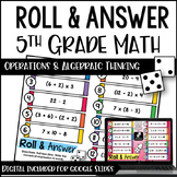5th Grade Math Centers (Roll and Answer: Operations and Al
