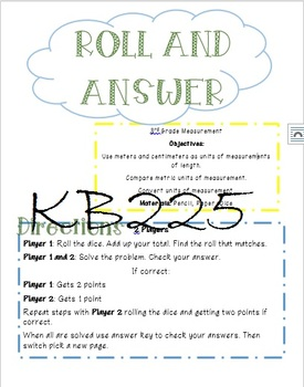 Roll and Answer Math Game