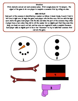 Roll and Build A Snowman Game