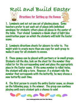 Roll and Build Easter: 16 Games for Number Rec. and Addition Strategies