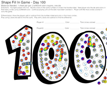 Roll and Color 100 Day Shape Fill In Math