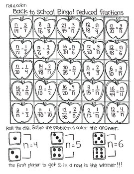 Roll and Color BACK TO SCHOOL BINGO:  Fractions
