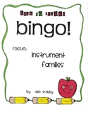 Roll and Color BACK TO SCHOOL BINGO:  Instrument Families