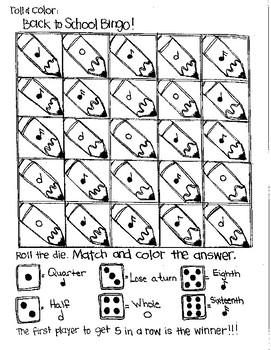 Roll and Color BACK TO SCHOOL BINGO - Notation