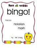 Roll and Color BACK TO SCHOOL BINGO:  Notation Math