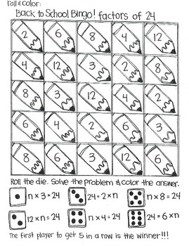 Roll and Color BACK TO SCHOOL Bingo:  Multiples and Factors