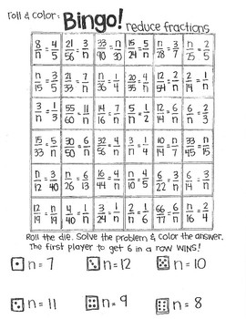 Roll and Color BINGO:  Fractions (part 1)