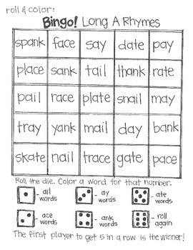 Roll and Color BINGO: Short and Long Vowel Rhymes