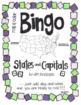 Roll and Color BINGO:  States and Capitals