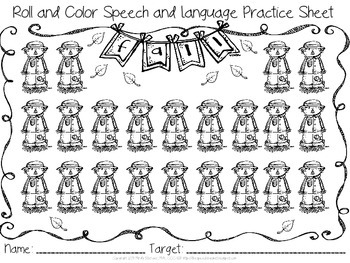 Roll and Color - BTS/Fall Themed Articulation and Language Reinforcers