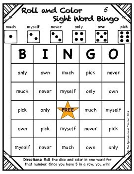 Roll and Color Bingo: Third Grade Sight Words
