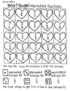 Roll and Color Bingo for Valentine's Day:  Fractions