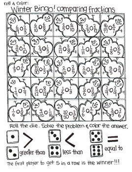 Roll and Color Bingo for WINTER:  Fractions