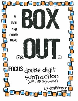 Roll and Color: Box Out! (Double Digit Subtraction with NO regrouping)