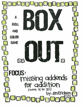 Roll and Color: Box Out! (Missing Addends for Addition sums 4-20)